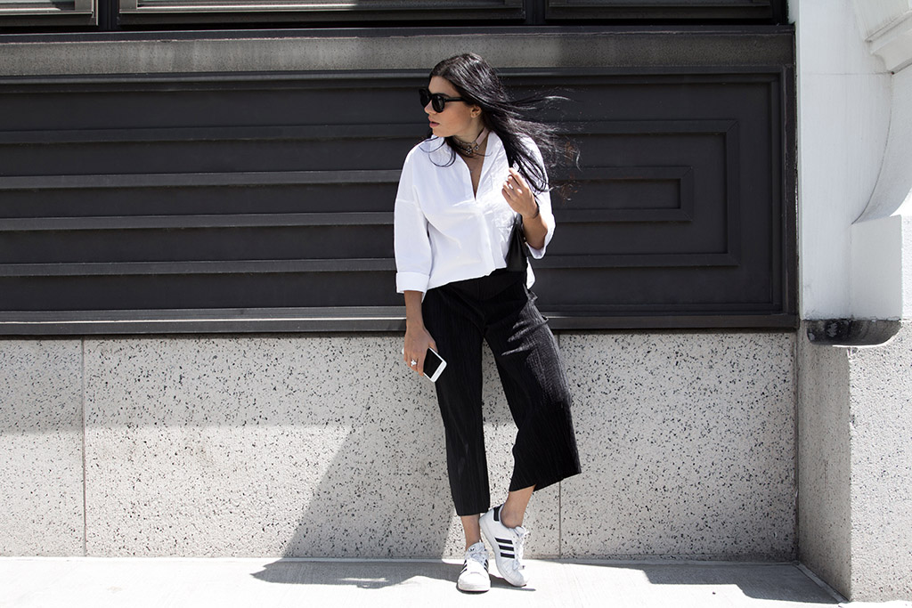 Black and white outfit with oversized shirt and cullotes
