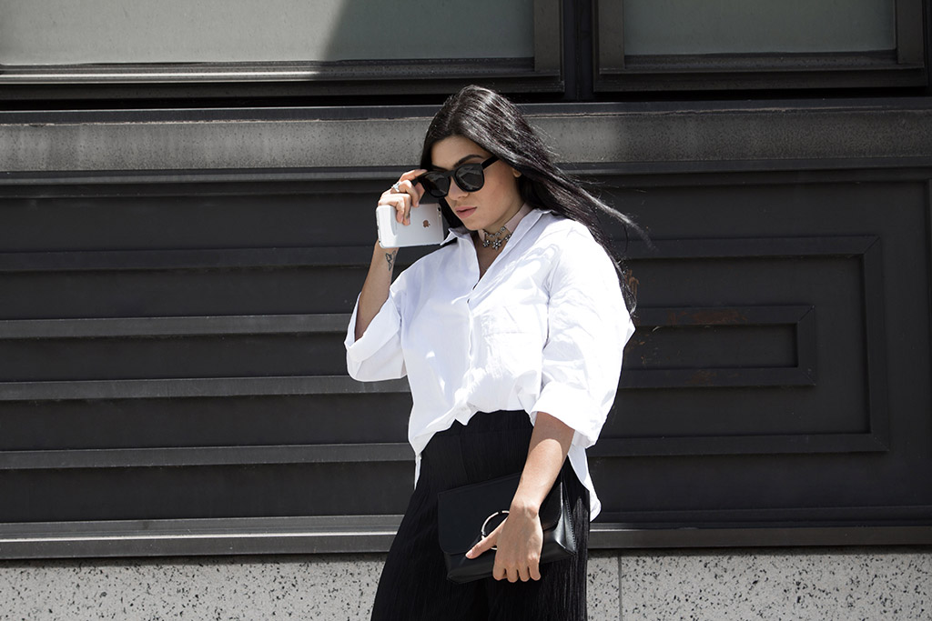 White Oversized shirt, black and white outfit