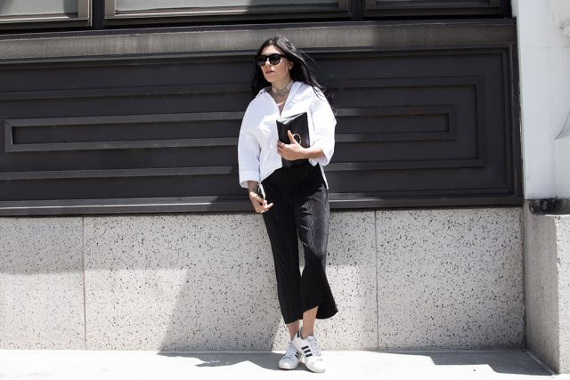 White oversized shirt, black pleated culottes , black and white outfit