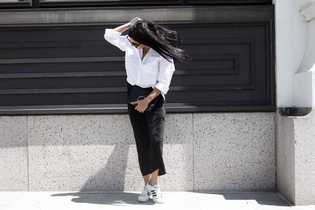 Black and white outfit, white oversized shirt, black culottes