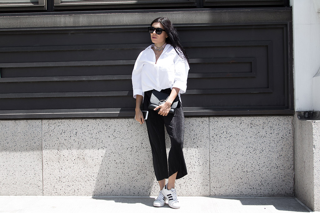 Black and white outfit, White oversized shirt, black pleated culottes