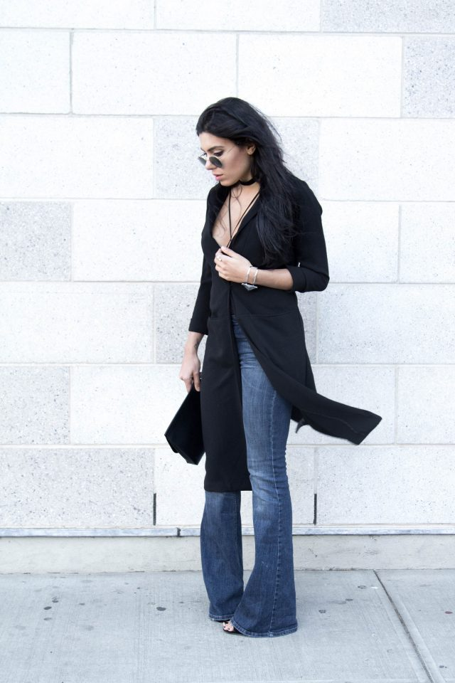 Black coat with flared jeans