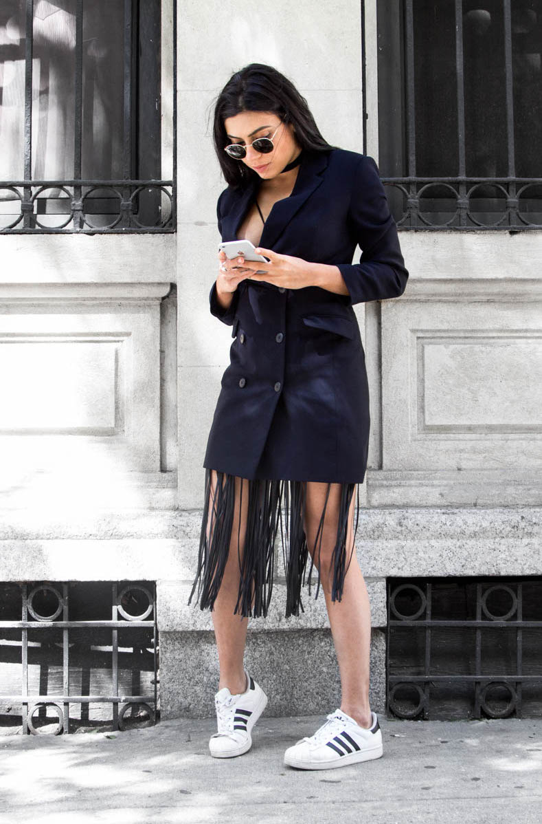 Long Blazer and Fringe Outfit
