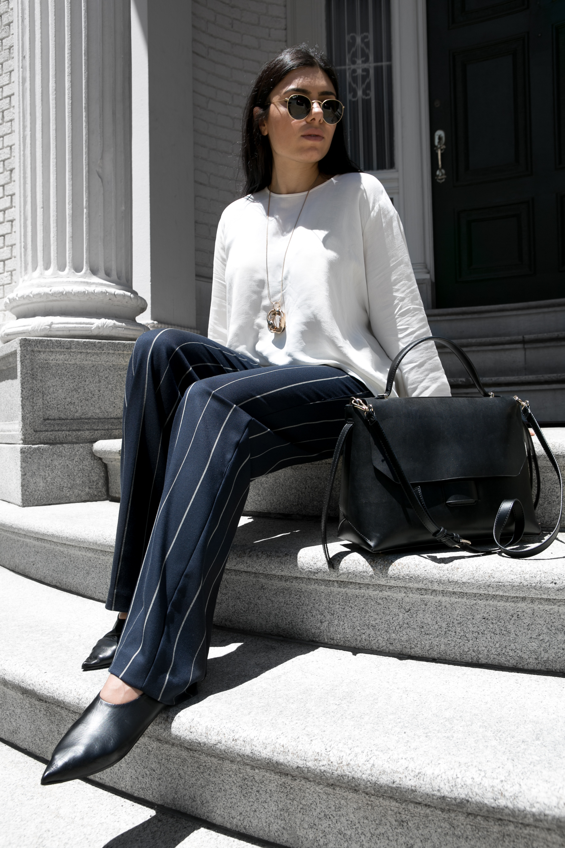 Wide Leg Stripes and white flowing blouse - outfit