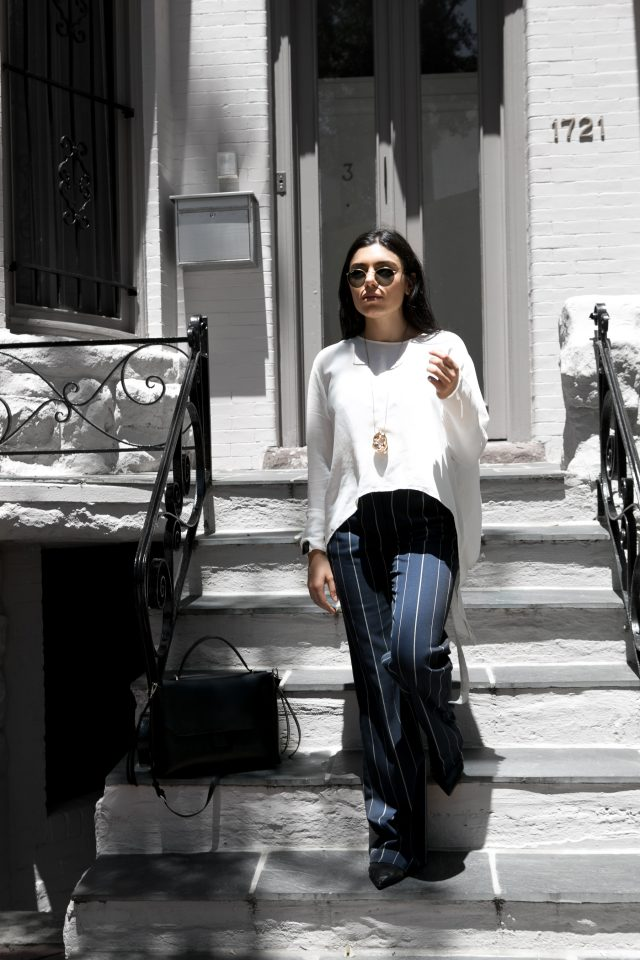 Wide Leg Stripes and white flowing blouse – outfit
