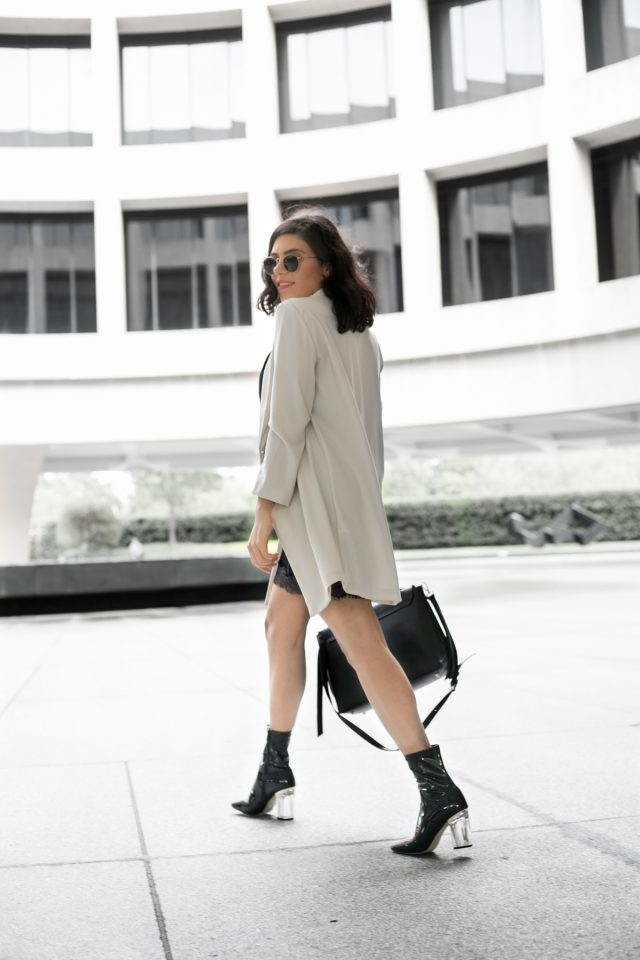 Long ivory blazer with black slip dress – outfit