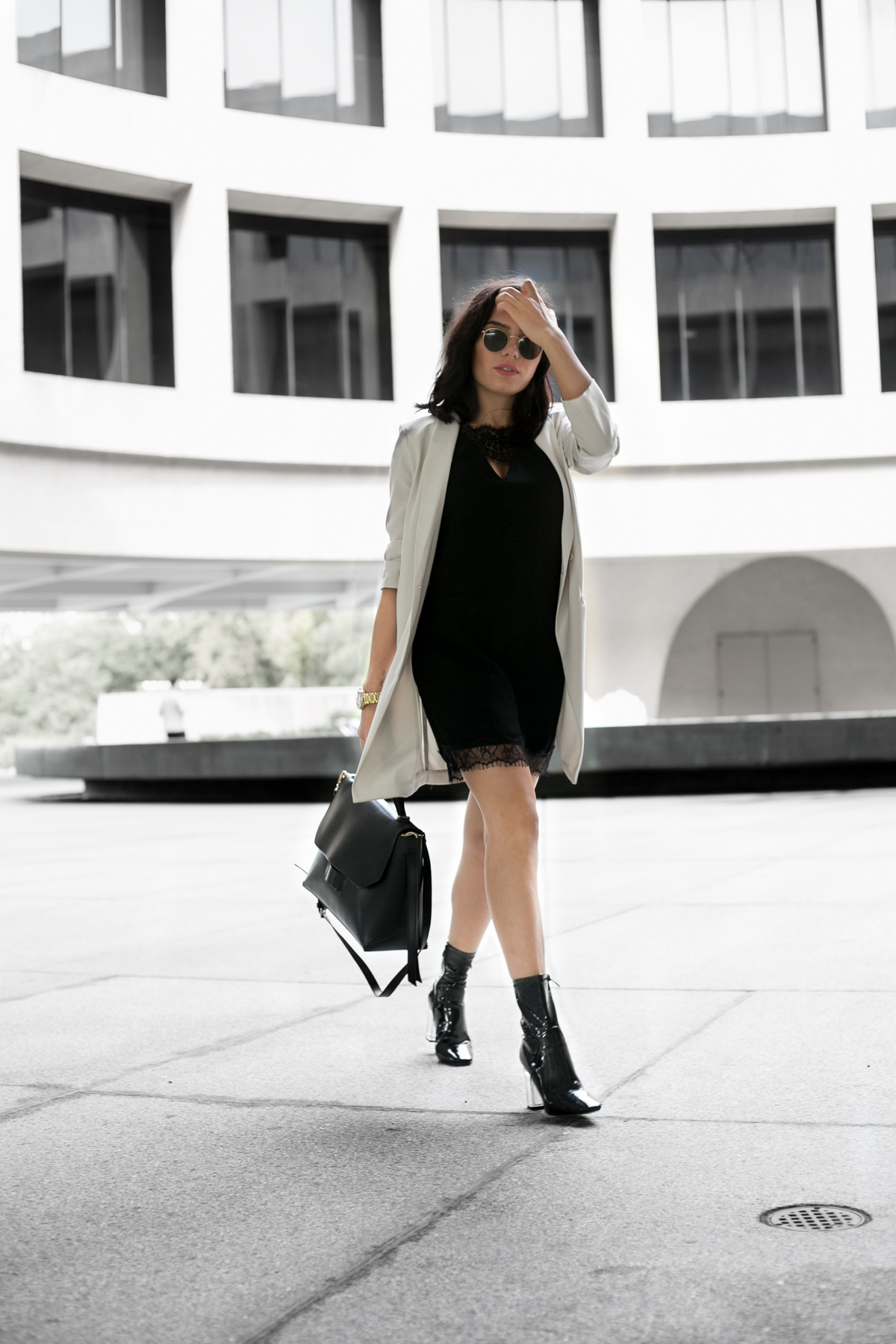 Long Ivory Blazer With Black Slip Dress Outfit