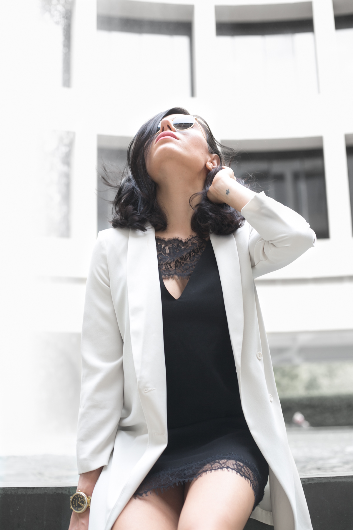 Long ivory blazer with black slip dress - outfit