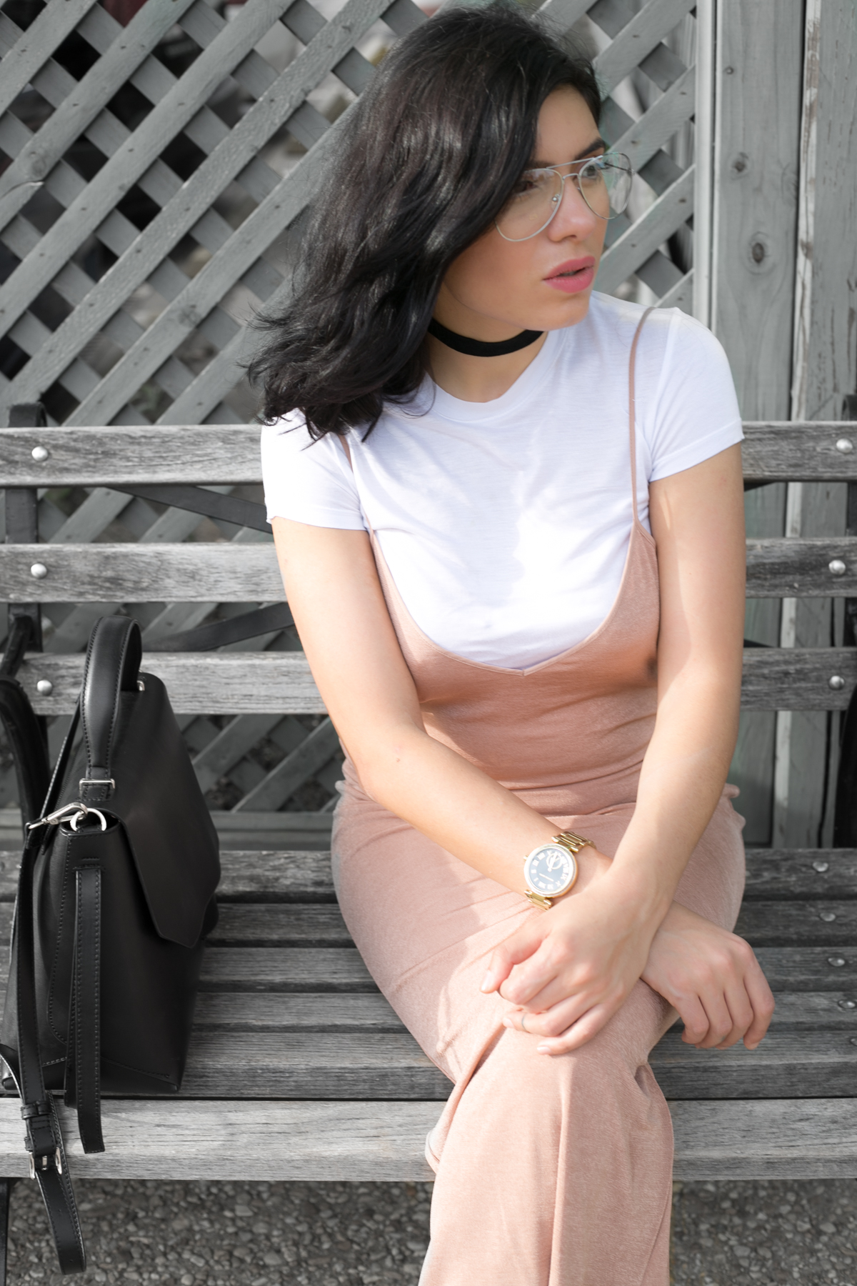Dirty pink slip dress with t-shirt - outfit