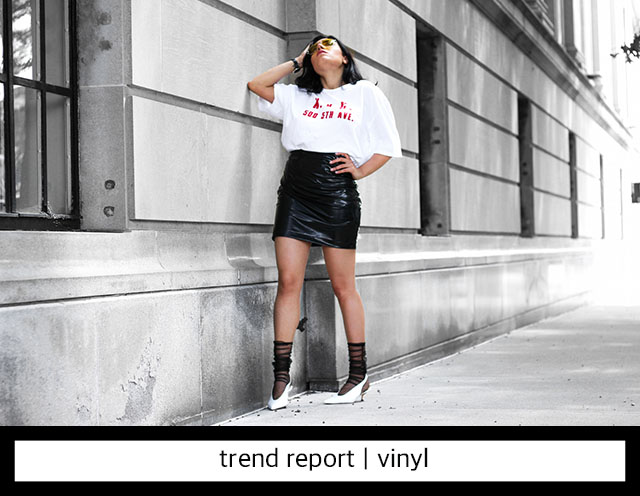 Vynil Skirt and oversized t-shirt